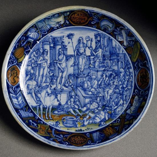 Plate with Allegory of Selene, Ceramic, Faenza Manufacture, Emilia-Romagna, Italy, Ca 1510--Giclee Print