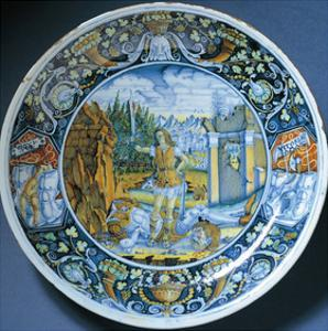 Plate with Depiction of David and Goliath, Ceramic