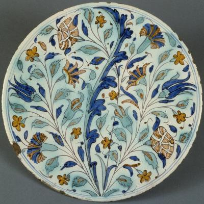 Plate with Polychrome Floral Decoration, Candiana Majolica, Veneto, Italy--Giclee Print