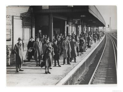 Platform Full of Commuters Wait for the London Waterloo Train Service During the Morning Rush Hour--Giclee Print