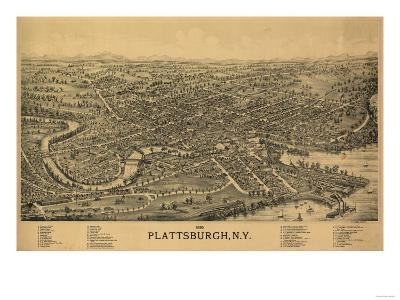 Plattsburgh, New York - Panoramic Map-Lantern Press-Art Print