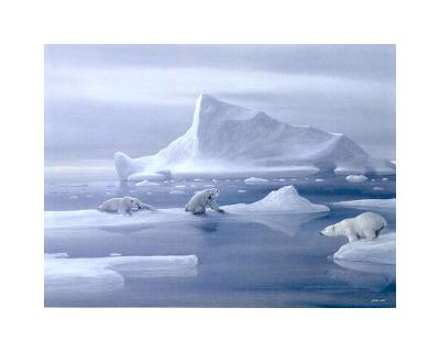 Play Time Polar Bear-David Jean-Art Print