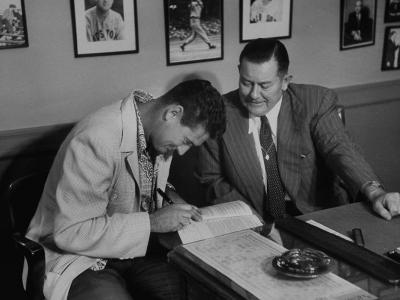 Player Ted Williams Signing Contract with Red Sox Manager, Thomas A. Yawkey-Ralph Morse-Premium Photographic Print