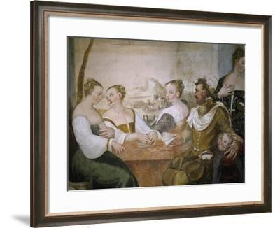 Players at Table, Detail from Game of Cards-Giovanni Antonio Fasolo-Framed Giclee Print