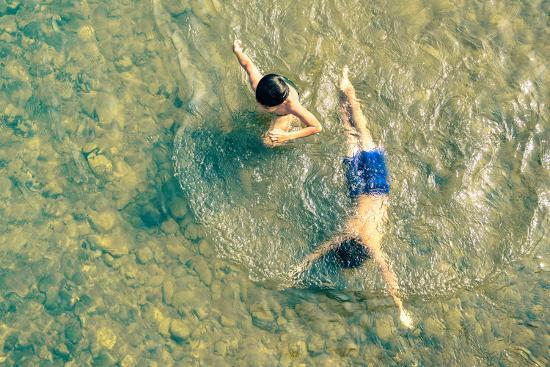 Playful Children Swimming in Nam Song River in Vang Vieng - Real Everyday Healthy Life and Fun of K-View Apart-Photographic Print