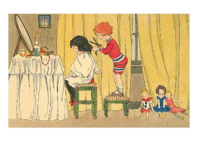 Playing Barber Shop--Art Print
