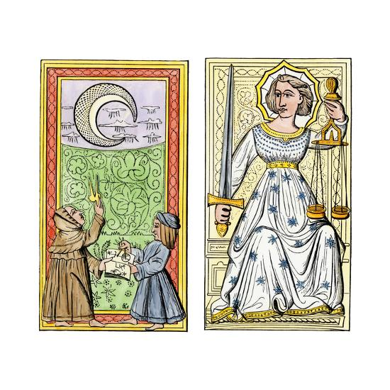 Playing Cards of Moon (Left) and Justice (Right) From the Court of Charles VI, France, Circa 1400--Giclee Print