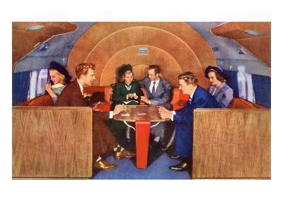 Playing Cards on Board the Plane--Art Print