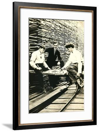 Playing Checkers in Lumberyard--Framed Art Print
