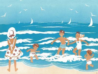 Playing in the Surf - Jack & Jill-Ann Eshner-Giclee Print