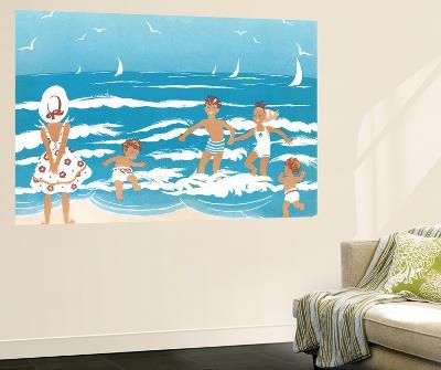 Playing in the Surf - Jack & Jill-Ann Eshner-Wall Mural