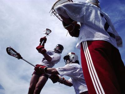 Playing Lacrosse--Photographic Print