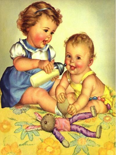 Playing Mother, 1950-Charlotte Becker-Giclee Print