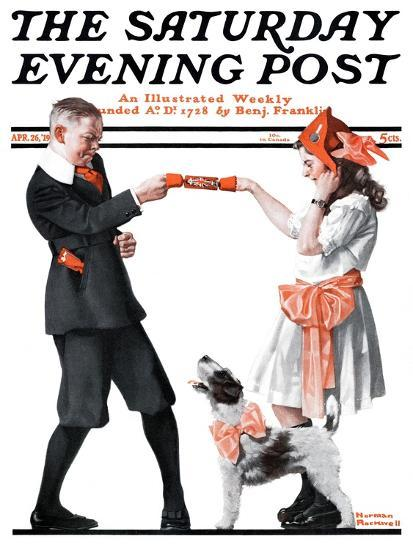 """""""Playing Party Games"""" Saturday Evening Post Cover, April 26,1919-Norman Rockwell-Giclee Print"""