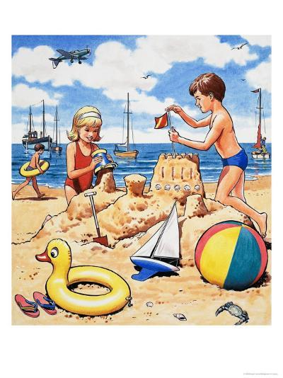 Playing Sandcastles--Giclee Print