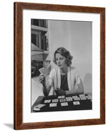 Playing Solitaire--Framed Photo