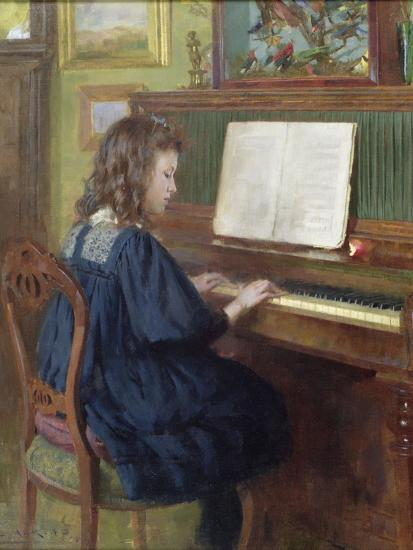 Playing the Piano-Ernest Higgins Rigg-Giclee Print
