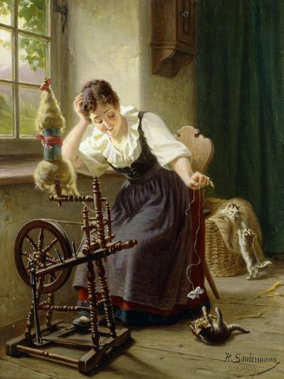 Playing with the Cat-Sondermann Herman-Giclee Print