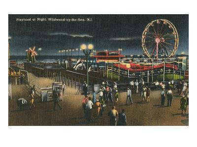Playland at Night, Wildwood-by-the-Sea, New Jersey--Art Print