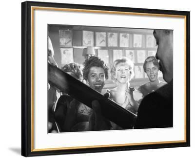 Playwright Lorraine Hansberry Enjoys Music at the Raisin in the Sun Opening Night Party at Sardis-Gordon Parks-Framed Premium Photographic Print