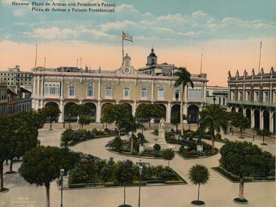 Plaza de Armas and Presidential Palace, Havana, Cuba, c1920-Unknown-Photographic Print