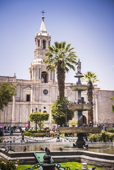 Plaza De Armas Fountain and Basilica Cathedral of Arequipa, Arequipa, Peru, South America-Matthew Williams-Ellis-Photographic Print