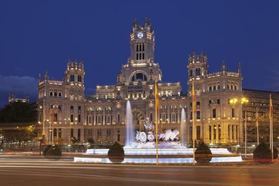Plaza de la Cibeles, Fountain and Palacio de Comunicaciones, Madrid, Spain, Europe-Markus Lange-Photographic Print