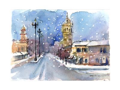 Plaza in Winter, 2015-John Keeling-Giclee Print