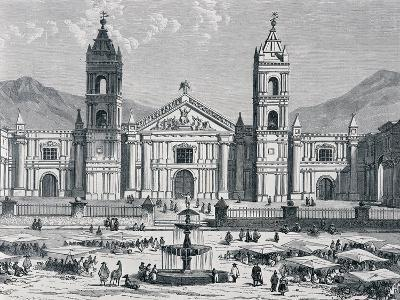 Plaza Mayor and Cathedral of Arequipa, Peru, 1880S--Giclee Print