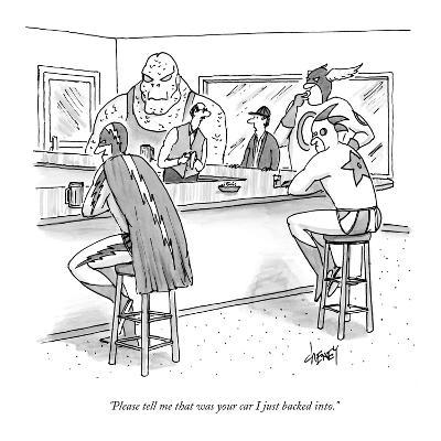 """""""Please tell me that was your car I just backed into."""" - New Yorker Cartoon-Tom Cheney-Premium Giclee Print"""