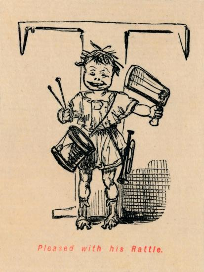 'Pleased with his Rattle', 1852-John Leech-Giclee Print