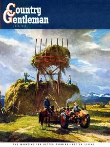 """Stacking Hay,"" Country Gentleman Cover, July 1, 1950 by Pleisner"