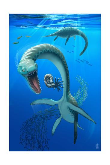 Plesiosaurus Dinosaur-Lantern Press-Art Print