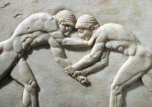 Plinth of Kouros Statue, Bas-Relief Depicting Wrestlers, Circa 510 B.C., Detail