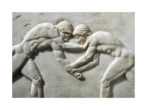 Plinth of Kouros Statue, Bas-Relief Depicting Wrestlers, Circa 510 B.C., Detail