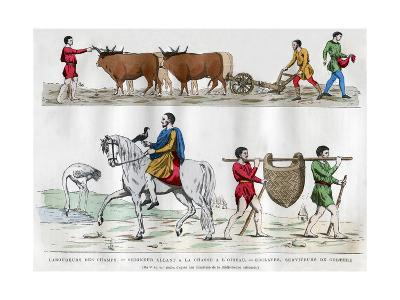 Ploughing, a Lord Hunting with a Bird, a Slave, and Two Servants, 5th-7th Century (1882-188)--Giclee Print