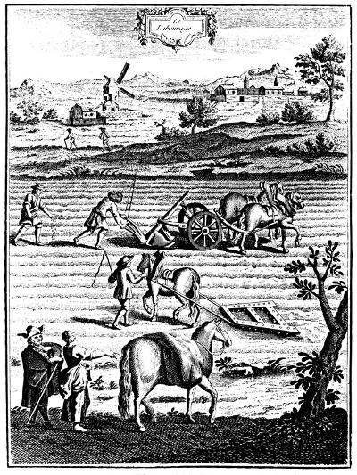 Ploughing and Harrowing with Horses and Sowing Seed Broadcast, 1762--Giclee Print