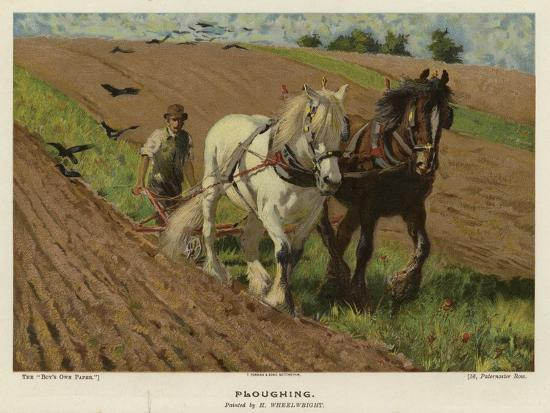 Ploughing by H Wheelwright--Giclee Print