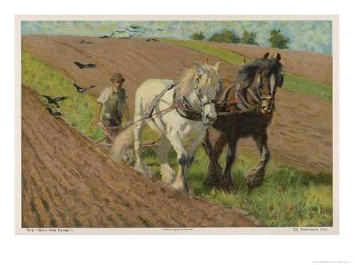 Ploughing with a Pair of Horses-H. Wheelwright-Giclee Print