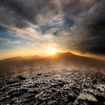 Plowed Field in the Mountains at Sunset- Givaga-Photographic Print
