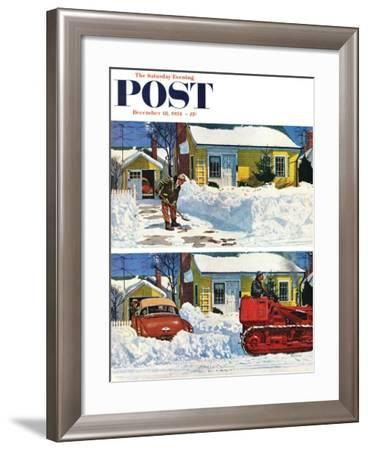 """""""Plowed-Over Driveway"""" Saturday Evening Post Cover, December 18, 1954-Earl Mayan-Framed Giclee Print"""