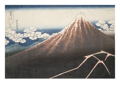 Pluie d'orage sous le sommet du Fuji-Katsushika Hokusai-Giclee Print