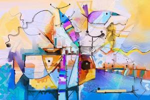 Abstract Colorful Fantasy Oil Painting. Semi Abstract of Tree, Flower and Fish in Landscape. Spring by pluie_r
