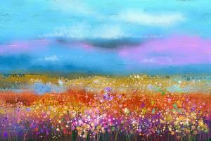 Abstract Colorful Oil Painting Landscape Background. Semi Abstract Image of Wildflower and Field. Y by pluie_r