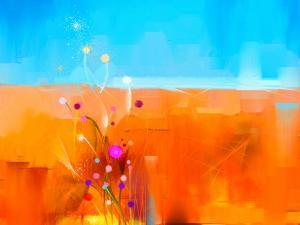 Abstract Colorful Oil Painting Landscape on Canvas. Semi- Abstract Image of Flowers in Meadows ( Fi by pluie_r