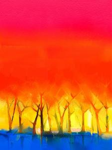 Abstract Colorful Oil Painting Landscape on Canvas. Semi- Abstract Image of Tree and Red Sky. Sprin by pluie_r