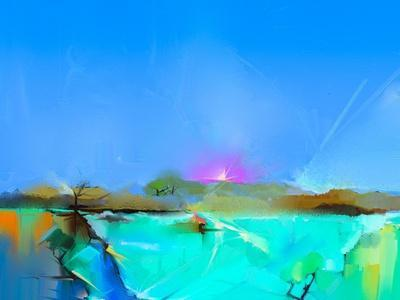 Abstract Colorful Oil Painting Landscape on Canvas. Semi- Abstract Image of Tree, Hill and Green Fi