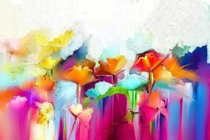 Abstract Colorful Oil Painting on Canvas. Semi- Abstract Image of Flowers, in Yellow and Red with B by pluie_r