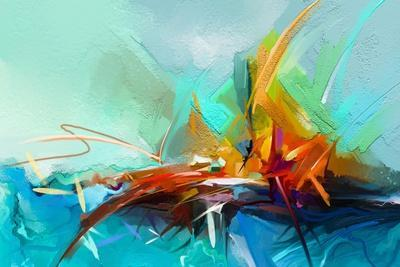Abstract Colorful Oil Painting on Canvas Texture. Semi- Abstract Image of Landscape Paintings Backg