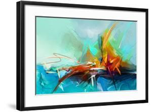 Abstract Colorful Oil Painting on Canvas Texture. Semi- Abstract Image of Landscape Paintings Backg by pluie_r